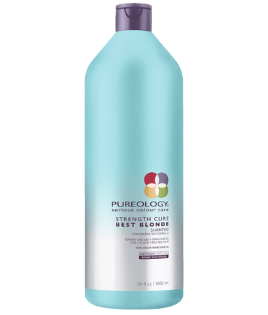 Pureology Strength Cure Best Blonde Purple Shampoo Liter Size for blonde, highlighted and lifted color-treated hair