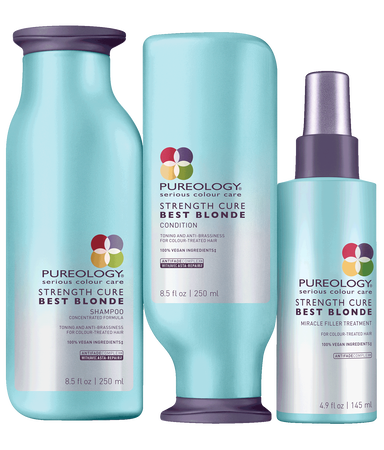 Pureology Strengthe Cure Best Blonde 3-Step Hair Care System with purple shampoo for blonde, highlighted and lifted color-treated hair