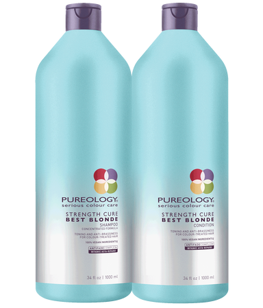 Pureology Strength Cure Best Blonde Purple Shampoo and Toning Conditioner Liter Size Duo for blonde, highlighted and lifted color-treated