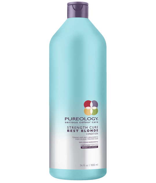 Pureology Strength Cure Best Blonde Purple Toning Conditioner for blonde, highlighted and lifted color-treated hair liter size