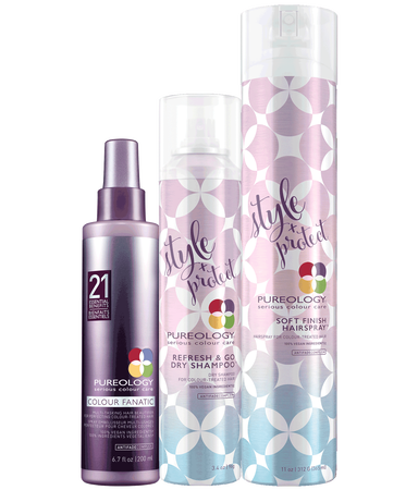 Pureology Lengthen-The-Look Oil-Absorbing and Refreshing Styling Product Set for Color-Treated Hair