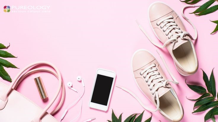 trainers and iphone n a pink background